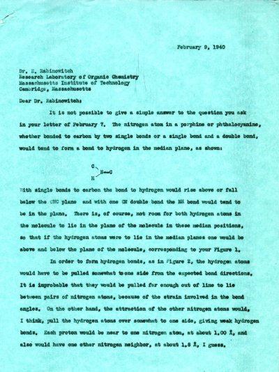 Letter from Linus Pauling to Eugene Rabinowitch. Page 1. February 9, 1940