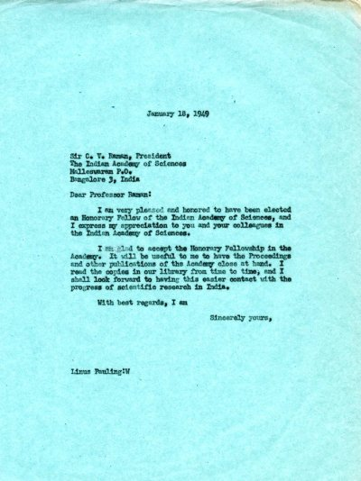 Letter from Linus Pauling to C.V. Raman. Page 1. January 18, 1949