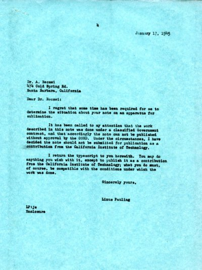 Letter from Linus Pauling to Andrew Recsei. Page 1. January 17, 1945