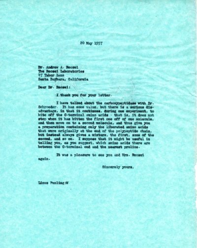Letter from Linus Pauling to Andrew Recsei. Page 1. May 20, 1957