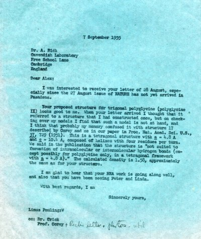 Letter from Linus Pauling to Alexander Rich. Page 1. September 7, 1955