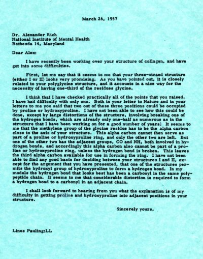 Letter from Linus Pauling to Alexander Rich. Page 1. March 26, 1957