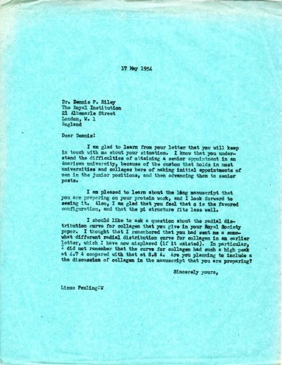 Letter from Linus Pauling to D.P. Riley.Page 1. May 17, 1954