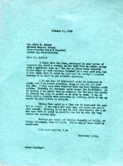 Letter from Linus Pauling to Allan Butler. Page 1. January 19, 1950