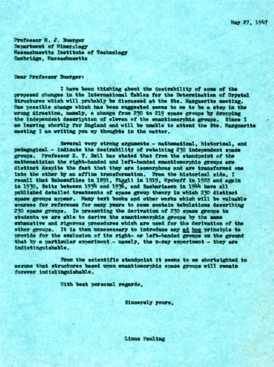 Letter from Linus Pauling to M.J. Buerger. Page 1. May 27, 1947