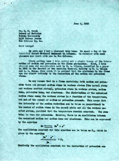 Letter from Linus Pauling to George Burch. Page 1. June 5, 1950