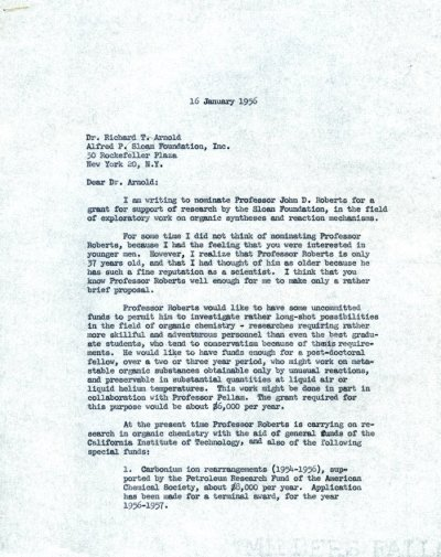 Letter from Linus Pauling to Richard T. Arnold. Page 1. January 16, 1956
