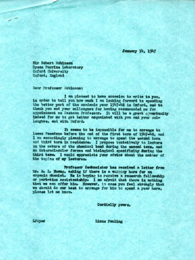 Letter from Linus Pauling to Robert Robinson. Page 1. January 14, 1947