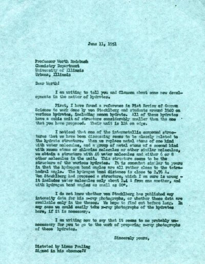 Letter from Linus Pauling to Worth Rodebush.Page 1. June 11, 1951