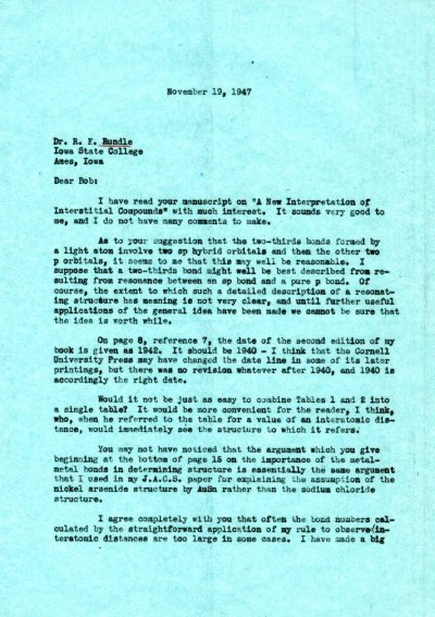 Letter from Linus Pauling to R.E. Rundle. Page 1. November 19, 1947