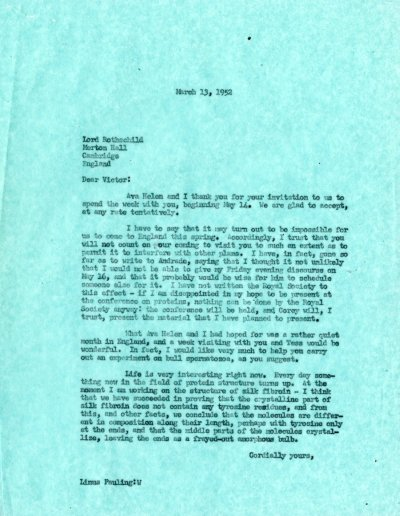 Letter from Linus Pauling to Victor Rothschild.Page 1. March 13, 1952
