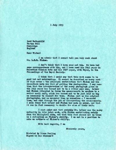 Letter from Linus Pauling to Victor Rothschild.Page 1. July 1, 1953