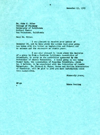 Letter from Linus Pauling to John Eiler. Page 1. December 13, 1945