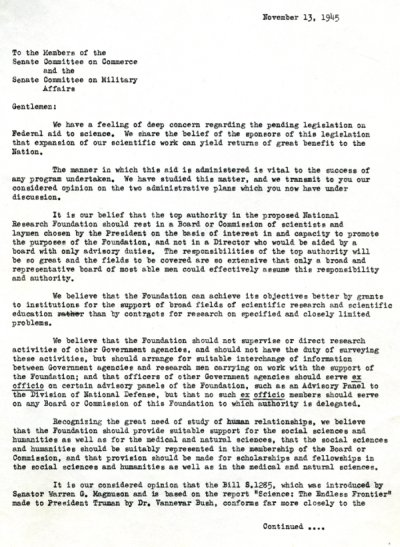 Letter from assorted scientists (including Linus Pauling) to Members of the Senate Committee on Commerce and the Senate Committee on Military Affairs. Page 1. November 13, 1945