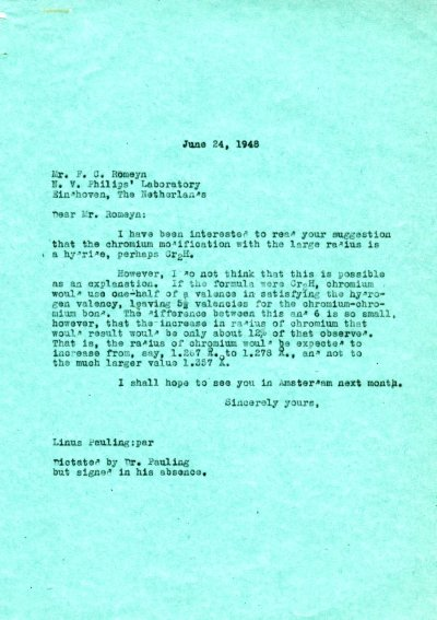 Letter from Linus Pauling to F.C. Romeyn. Page 1. June 24, 1948