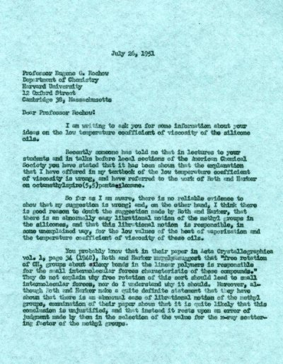 Letter from Linus Pauling to Eugene Rochow.Page 1. July 26, 1951