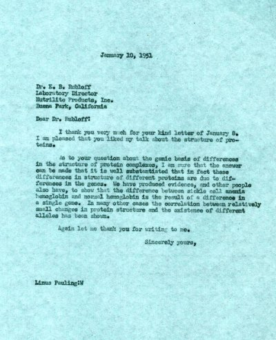 Letter from Linus Pauling to E.B. Rubloff.Page 1. January 10, 1951