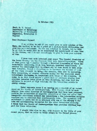 Letter from Linus Pauling to G.V. Raynor. Page 1. October 14, 1953