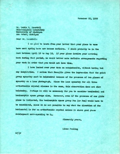 Letter from Linus Pauling to Lewis S. Ramsdell.Page 1. November 22, 1939