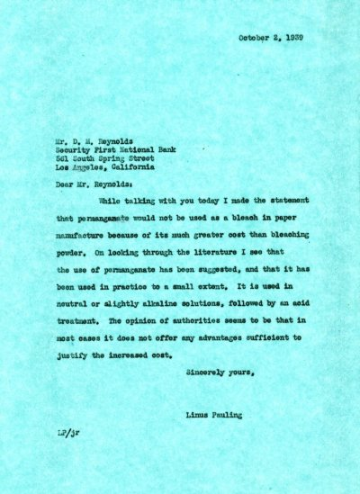 Letter from Linus Pauling to D.M. Reynolds.Page 1. October 2, 1939