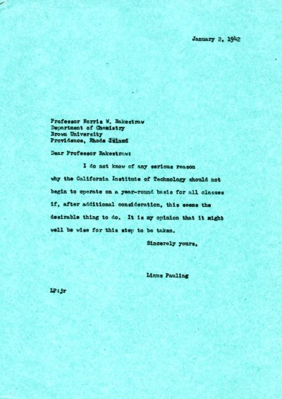 Letter from Linus Pauling to Norris W. Rakestraw. Page 1. January 2, 1942