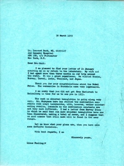 Letter from Linus Pauling to Leonard Rack. Page 1. March 30, 1955