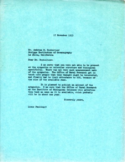 Letter from Linus Pauling to Andreas B. Rechnitzer. Page 1. November 17, 1955
