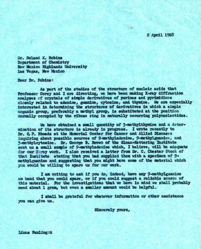 Letter from Linus Pauling to Roland K. Robins. Page 1. April 2, 1958