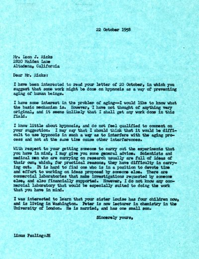 Letter from Linus Pauling to Leon J. Ricks. Page 1. October 22, 1958