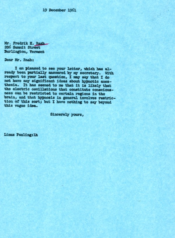 Letter from Linus Pauling to Fredrik H. Raab. Page 1. December 19, 1961