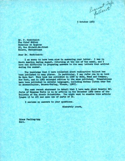 Letter from Linus Pauling to P. Rentchnick.Page 1. October 3, 1963