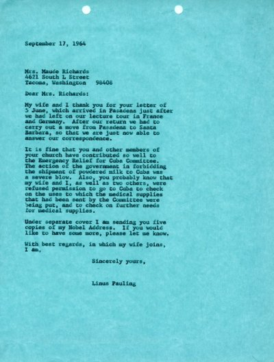 Letter from Linus Pauling to Maude Richards. Page 1. September 17, 1964