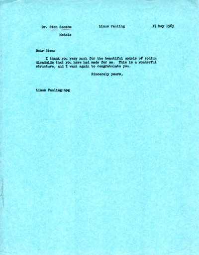Memo from Linus Pauling to Sten Samson.Page 1. May 17, 1963