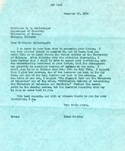Letter from Linus Pauling to H.I. Schlesinger.Page 1. December 27, 1940