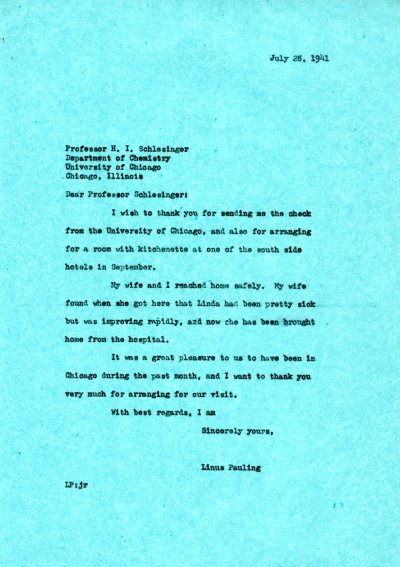 Letter from Linus Pauling to H.I. Schlesinger. Page 1. July 28, 1941