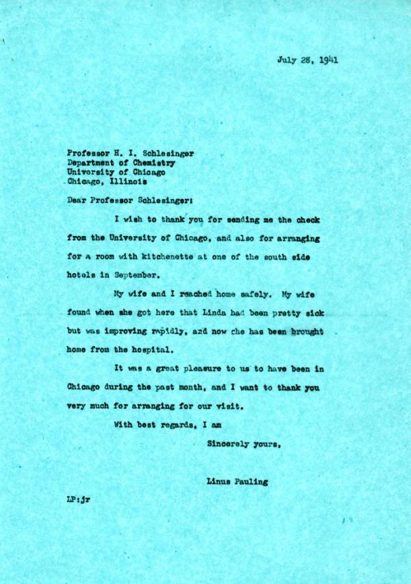 Letter from Linus Pauling to H.I. Schlesinger.Page 1. July 28, 1941