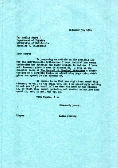 Letter from Linus Pauling to Emilio Segre.Page 1. December 31, 1946