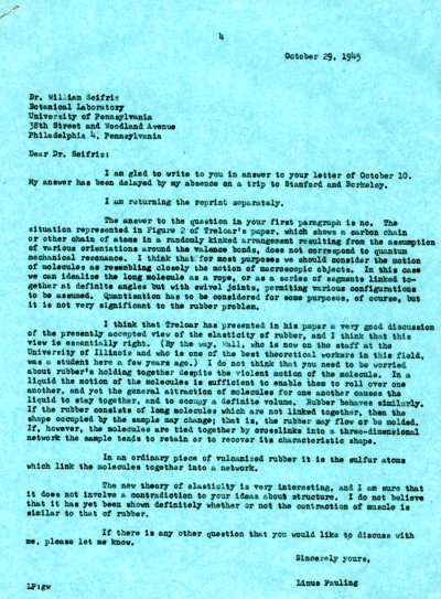 Letter from Linus Pauling to William Seifriz. Page 1. October 29, 1945