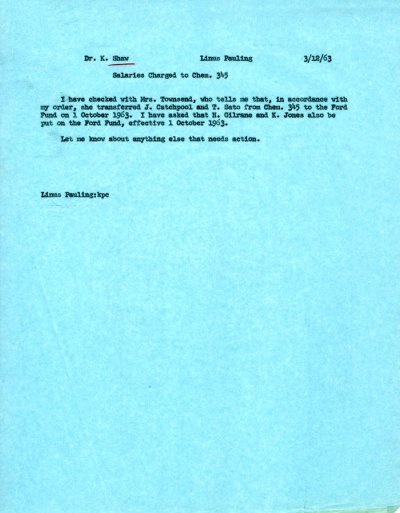 Memo from Linus Pauling to Kenneth Shaw.Page 1. March 12, 1963