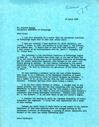 Letter from Linus Pauling to Charles Newton.Page 1. April 24, 1963