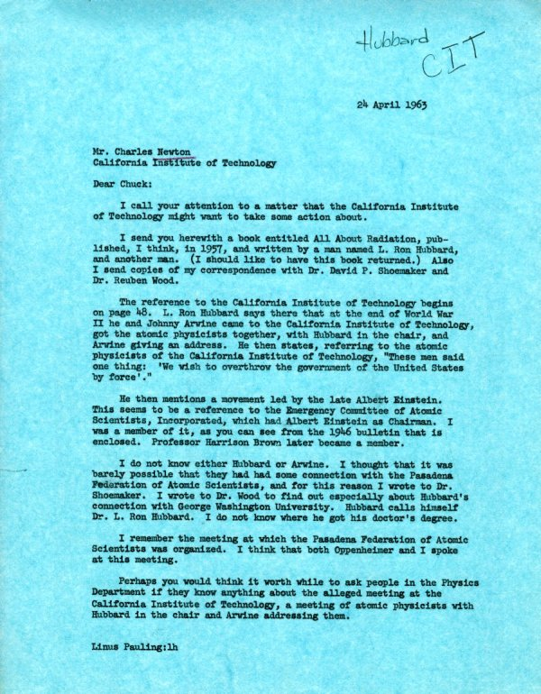 Letter from Linus Pauling to Charles Newton. Page 1. April 24, 1963