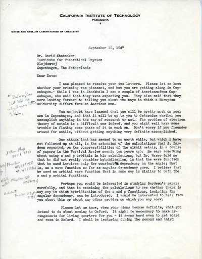 Letter from Linus Pauling to David Shoemaker. Page 1. September 12, 1947