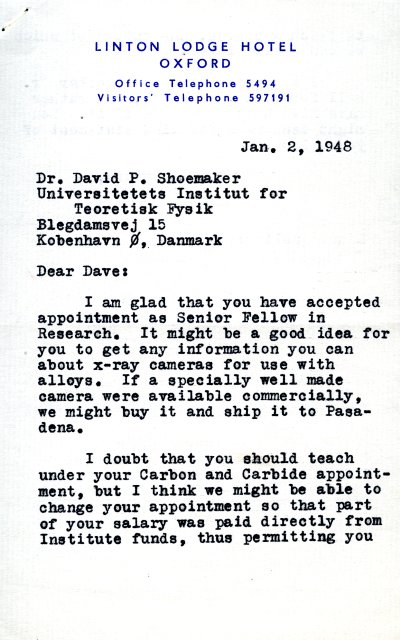 Letter from Linus Pauling to David Shoemaker. Page 1. January 2, 1948