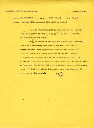 Letter from Linus Pauling to David Shoemaker. Page 1. February 4, 1949