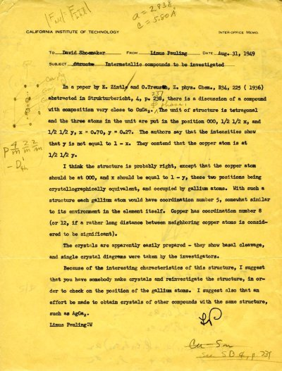 Letter from Linus Pauling to David Shoemaker. Page 1. August 31, 1949