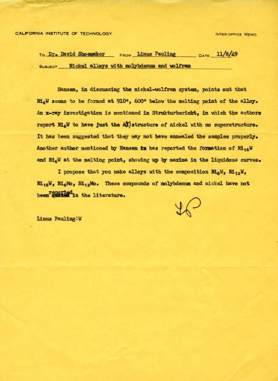 Letter from Linus Pauling to David Shoemaker. Page 1. November 8, 1949