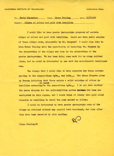 Letter from Linus Pauling to David Shoemaker. Page 1. December 29, 1949