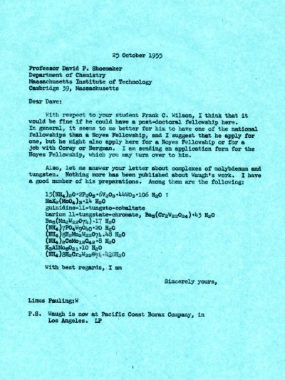 Letter from Linus Pauling to David Shoemaker. Page 1. October 25, 1955