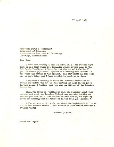 Letter from Linus Pauling to David Shoemaker. Page 1. April 17, 1963
