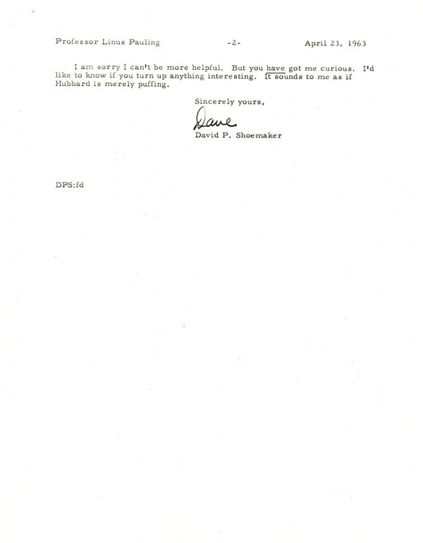 Letter from David Shoemaker to Linus Pauling.Page 2. April 23, 1963